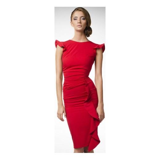 5e7c221ea2 Wizytowa sukienka na wesele KM66-1 kartes-moda czerwony drapowana w ...