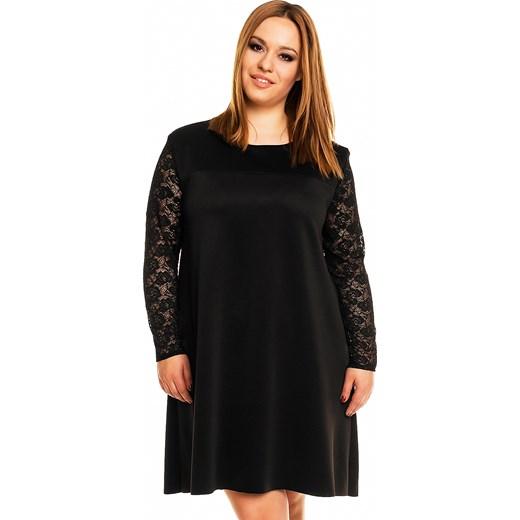 1fae984d36 Trapezowa sukienka z przedłużonym tyłem i koronką KM161PS kartes-moda  czarny midi w Domodi