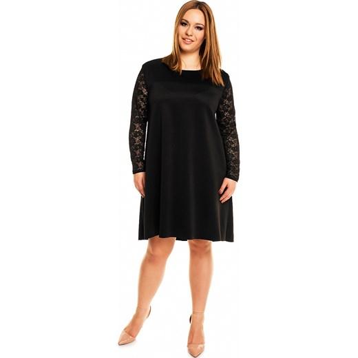 b462ce8c4b Trapezowa sukienka z przedłużonym tyłem i koronką KM161PS kartes-moda  czarny midi