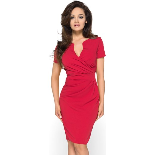 0fe65f5a Sukienka z kopertowym dekoltem KM56-1 czerwony Kartes Moda karteS-MODA