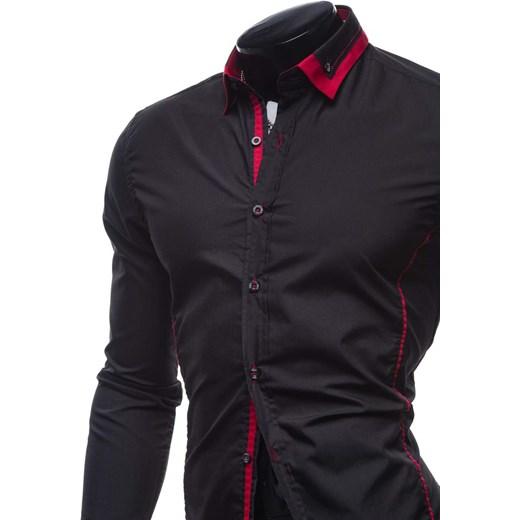 2d5061abc6909f Czarno-czerwona koszula męska elegancka z długim rękawem Bolf 4720  Denley.pl w Domodi