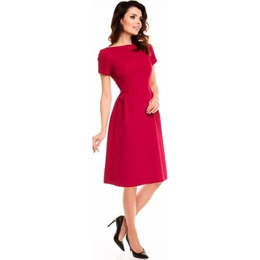 61f49560f5 Sukienka Wizytowa Rozkloszowana Bordowa A130 czerwony Awama BESIMA w ...
