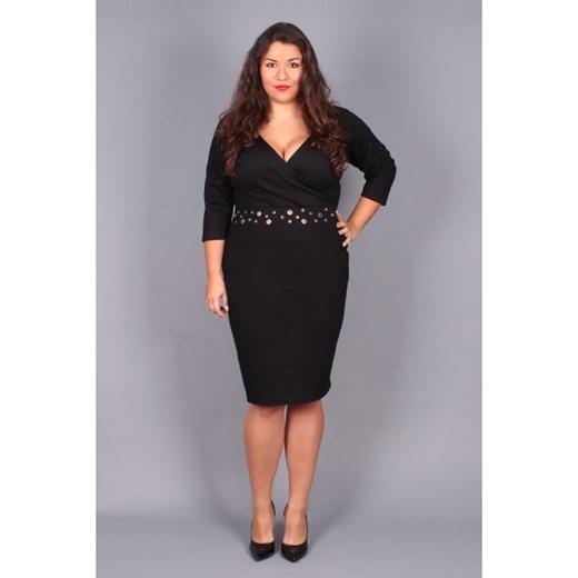 6f5bfe51fcea5f Czarna sukienka Plus Size z dekoltem V czarny By 20inlove ?by 20inlove.pl w  Domodi