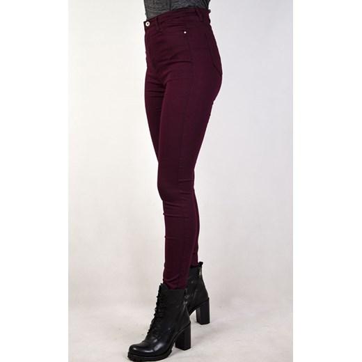 ba4a167cd2af Spodnie bordowe skinny z wysokim stanem brazowy olika.com.pl w Domodi