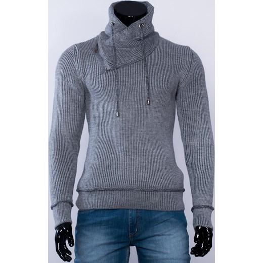 bd123d6ee127 ... SLIM męski grafitowy sweter golf stójka factoryprice niebieski zima