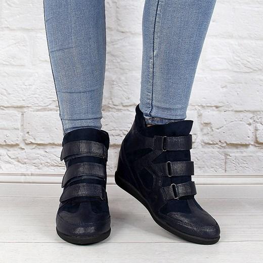 c51dcb8f8001 ... Granatowe sneakersy damskie na koturnie wężowe Monnari Monnari 39  okazyjna cena ButyRaj.pl