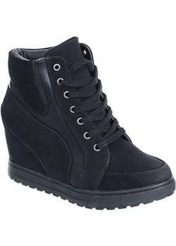 ZAMSZOWE SNEAKERSY BOTKI DAMSKIE CZARNE   Family Shoes - kod rabatowy