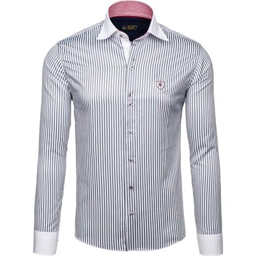 Biało szara koszula męska elegancka w paski z długim rękawem  d9qi5