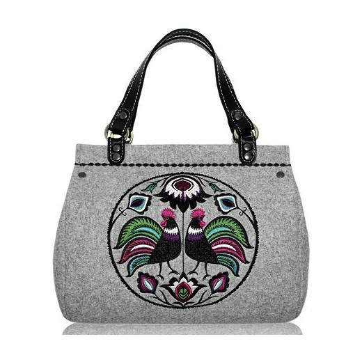 61146627df739 Filcowa torebka Goshico - haft folk kufer duży folkstar-pl bialy  abstrakcyjne wzory