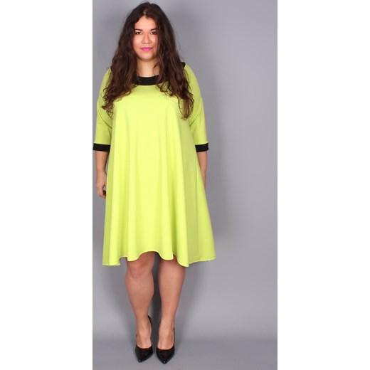 72e0af31eb8725 Trapezowa limonkowa sukienka By 20inlove zolty 20inlove.pl w Domodi