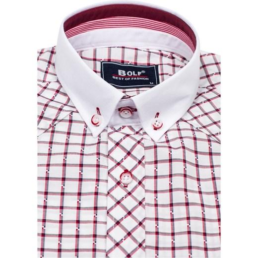 7568fa3ca32389 ... Bordowa koszula męska elegancka w kratę z długim rękawem Bolf 6959  Denley.pl M wyprzedaż