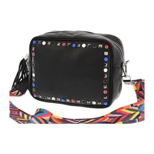 7e7bd1e0bfae6 Skórzana średnia torebka a'la Valentino z kolorowym paskiem HIT! czarny  Vera Pelle stylowagalanteria