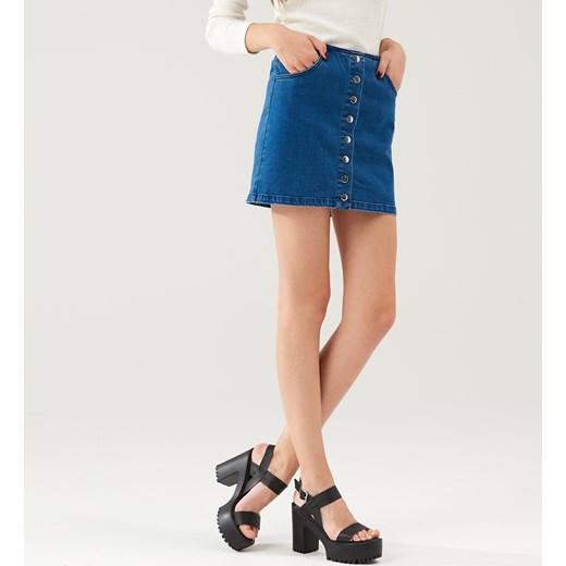 4eac8162 Cropp - Jeansowa spódnica z guzikami Niebieski granatowy