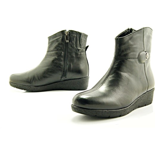 c9e32a3e3d0a9 KOSTEX 1023 CZARNE - Wygodne skórzane botki damskie na grubym spodzie  WYPRZEDAŻ sklep-obuwniczy- ...