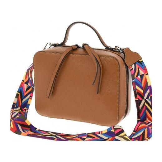 66e6542891a3f Skórzana torebka kuferek listonoszka z kolorowym paskiem HIT! Vera Pelle  stylowagalanteria.com