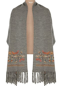 Grey floral embroidered fringe scape  River Island   - kod rabatowy