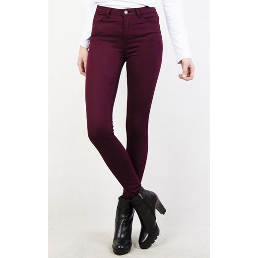 a472c8d1d460 Bordowe spodnie skinny jeans z wysokim stanem czerwony olika.com.pl ...