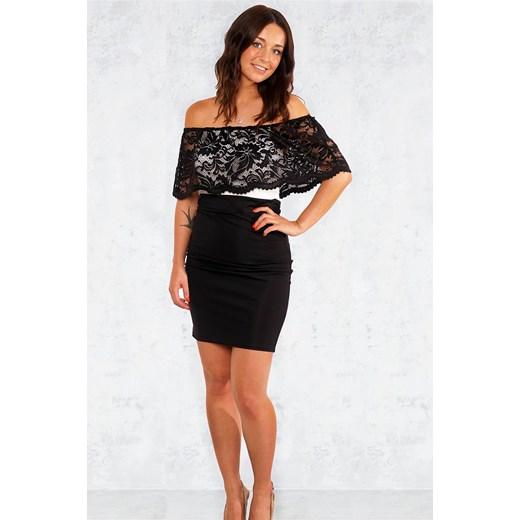 0d4386b001 ... Ekskluzywna sukienka z koronką odkryte ramiona czarna Divine Wear S ...