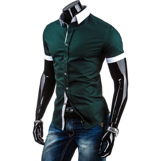 09f532d4c849 Koszula z krótkim rękawem slim fit (kx0604) - Zielony dstreet bawełna w  Domodi