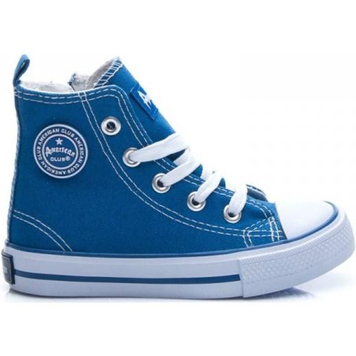 3846acab06fa7 WYSOKIE TRAMPKI DLA CHŁOPCA niebieski American Club 31 e-stylowe Stylowe  Buty