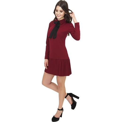 799e4bd5a3 Sukienka Claudia Burgundy - bordowa elegancka z krawatem Belzoni uniwersalny  okazyjna cena ...
