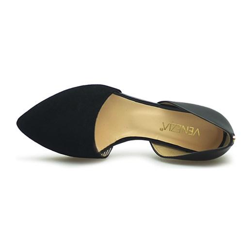 6e0fd2fb Baleriny Venezia 1110 NERO-NER Czarne lico + zamsz czarny Arturo-obuwie w  Domodi