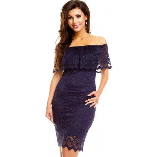 aae289b0bb Granatowa koronkowa sukienka odkryte ramiona czarny Divine Wear L ...