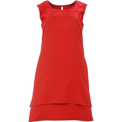 029290b811 Sukienka trapezowa z koronką na ramionach D. ROZMIAR (czerwona)  pomaranczowy eStilex ...