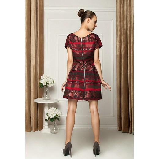 4c7266e25c sukienka dwuczęściowa z włoskiej tafty showroom-pl czerwony midi w ...