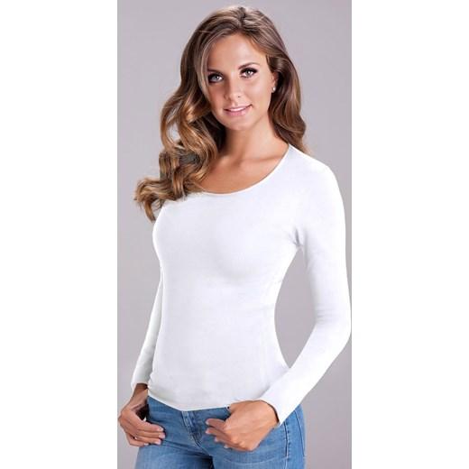 0ab72f7fe1a0 Damska bluzka bawełniana z długim rękawem Nika White biały bialy Cotonella  L Astratex