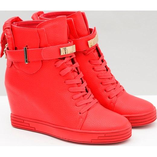7bde514a39a1b8 Sergio Leone | Czerwone Botki Sneakersy Kłódki Voyage pomaranczowy  BUTOSKLEP.PL w Domodi