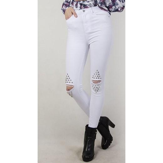 b8b18188c3 Białe spodnie skinny jeans z ćwiekami i dziurami szary olika.com.pl ...
