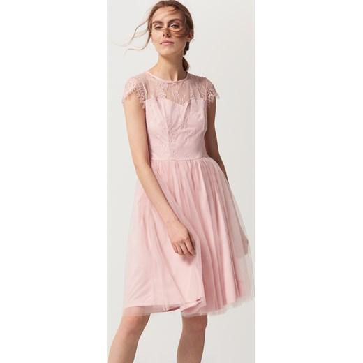 9410297b Mohito - Romantyczna sukienka z tiulem i koronką Różowy