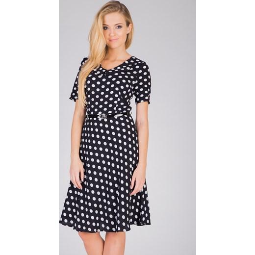 8858cdac47 Czarna rozkloszowana sukienka w grochy Quiosque quiosque.pl w Domodi