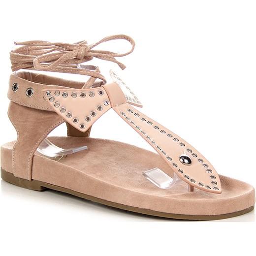 Pudrowe sandały japonki sznurowane z kokardą Lu Boo ButyRaj