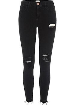 Black Amelie ripped super skinny jeans  czarny River Island  - kod rabatowy