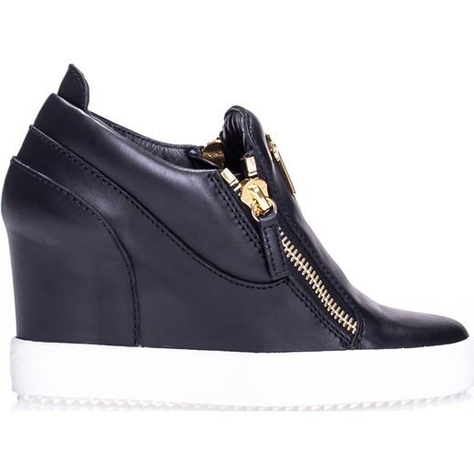 1339d152 Czarne skórzane buty sportowe damskie na małej koturnie Giuseppe Zanotti  viadellaspiga.pl w Domodi