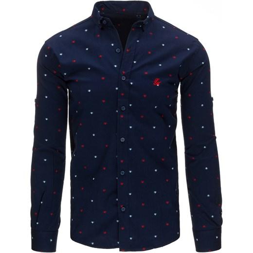 89a5bf0f4ab8 Granatowa koszula męska we wzory z długim rękawem (dx1330) Dstreet w ...