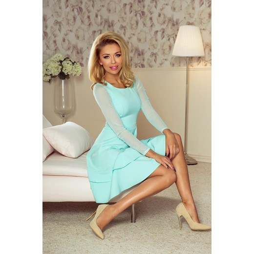 828c53a10b Elegancka Sukienka z Tiulem Miętowa NU141-3 mietowy Numoco BESIMA w ...