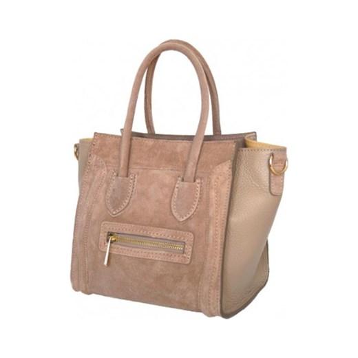 7c7a57705d9b7 Skórzana torebka z zamszem a'la Celine Nano beżowa Vera Pelle rozowy  stylowagalanteria.com