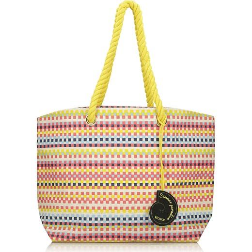 d13ad73c6b065 Multikolorowa torba na plażę Kazar bezowy kazar.com w Domodi