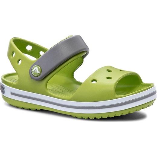 więcej zdjęć autentyczny odebrane Sandały CROCS - Crocband Sandal Kids 12856 Volt Green/Smoke zielony  eobuwie.pl