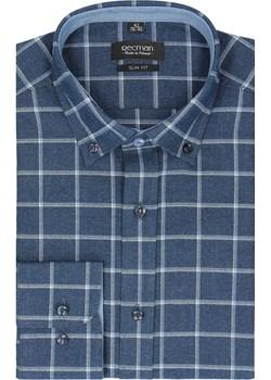 koszula bexley 2480 długi rękaw slim fit granatowy Recman niebieski  - kod rabatowy