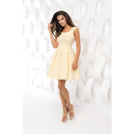 849f053ed7 Sukienka Rozkloszowana z Paskiem Żółta BI2083-09 Bt BESIMA w Domodi