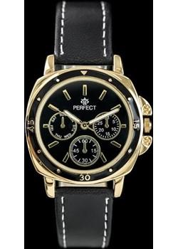 ZEGAREK DAMSKI PERFECT E602 - black/gold (zp744e) - Czarny    Złoty szary Perfect TAYMA - kod rabatowy