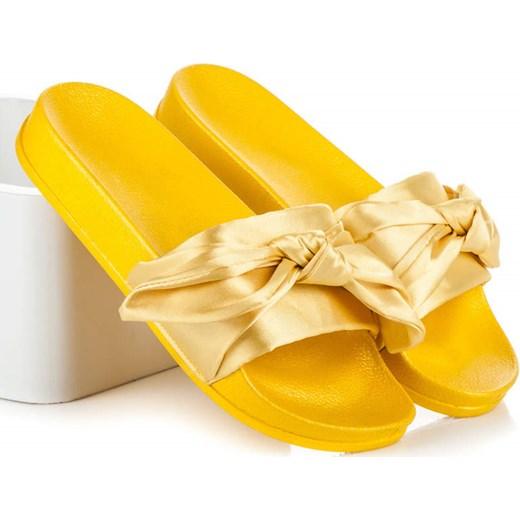9951e770e5c49 ŻÓŁTE KLAPKI Z KOKARDĄ - odcienie żółtego i złota - 36 Via Giulia zolty 36  MiModa