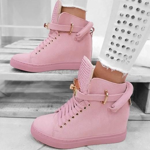 5a77e3ca4cffb Różowe Sneakersy w Modne Dżety - Botki na Koturnie Wilady rozowy w Domodi