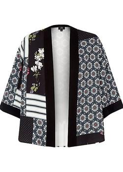 Black panel tile print cropped kimono  River Island   - kod rabatowy