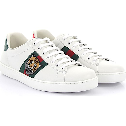 589169f05f396 Gucci Ace Sneakersy A38G0 ze skóry białe tygrys haft detale Gucci bialy 44  Budapester.com ...
