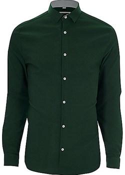 Green textured skinny fit shirt  zielony River Island  - kod rabatowy